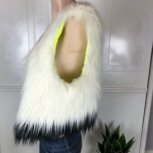 White/ black Ombre faux fur vest